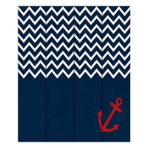 Decorative Wood Plank Wall Art | Organic Saturation - Anchor Nautical Chevron Red Blue