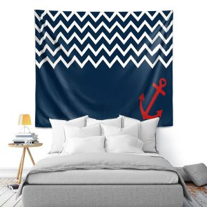 Artistic Wall Tapestry   Organic Saturation - Anchor Nautical Chevron Red Blue
