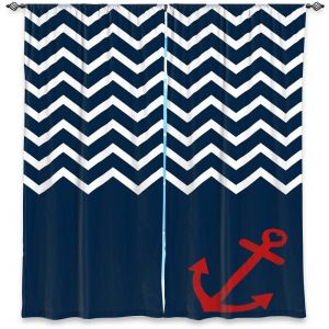 Decorative Window Treatments | Organic Saturation - Anchor Nautical Chevron Red Blue