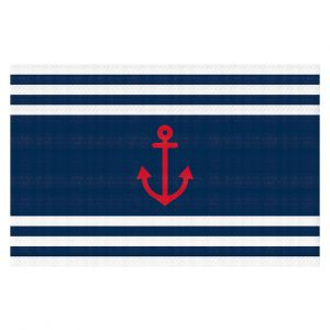 Decorative Floor Covering Mats | Organic Saturation - Anchor Stripes Blue | Simple pattern nautical