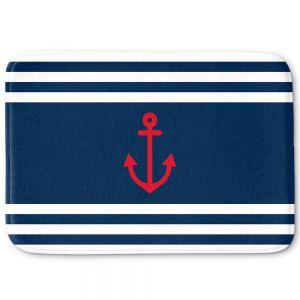 Decorative Bathroom Mats | Organic Saturation - Anchor Stripes Blue | Simple pattern nautical