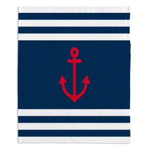 Decorative Fleece Throw Blankets | Organic Saturation - Anchor Stripes Blue | Simple pattern nautical