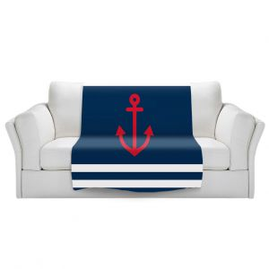 Artistic Sherpa Pile Blankets | Organic Saturation - Anchor Stripes Blue | Simple pattern nautical