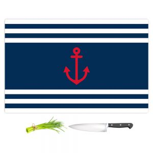 Artistic Kitchen Bar Cutting Boards | Organic Saturation - Anchor Stripes Blue | Simple pattern nautical