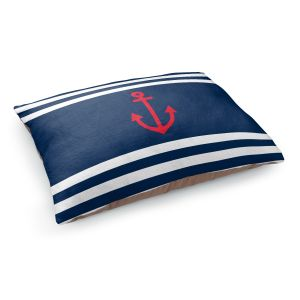 Decorative Dog Pet Beds | Organic Saturation - Anchor Stripes Blue | Simple pattern nautical