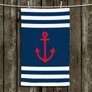 Unique Hanging Tea Towels | Organic Saturation - Anchor Stripes Blue | Simple pattern nautical