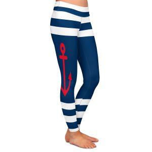 Casual Comfortable Leggings | Organic Saturation - Anchor Stripes Blue | Simple pattern nautical