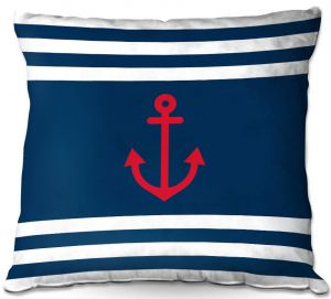 Decorative Outdoor Patio Pillow Cushion | Organic Saturation - Anchor Stripes Blue | Simple pattern nautical