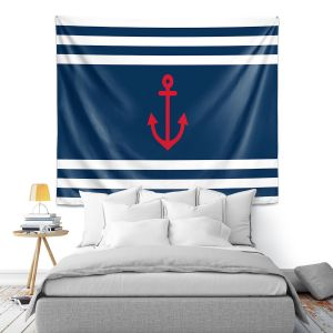 Artistic Wall Tapestry   Organic Saturation - Anchor Stripes Blue   Simple pattern nautical