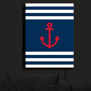 Nightlight Sconce Canvas Light | Organic Saturation - Anchor Stripes Blue