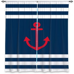 Decorative Window Treatments | Organic Saturation - Anchor Stripes Blue | Simple pattern nautical