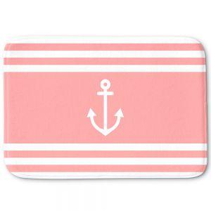 Decorative Bathroom Mats | Organic Saturation - Anchor Stripes Coral | Simple pattern nautical