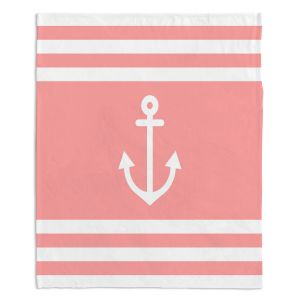 Decorative Fleece Throw Blankets | Organic Saturation - Anchor Stripes Coral | Simple pattern nautical