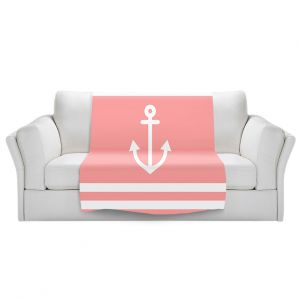 Artistic Sherpa Pile Blankets | Organic Saturation - Anchor Stripes Coral | Simple pattern nautical