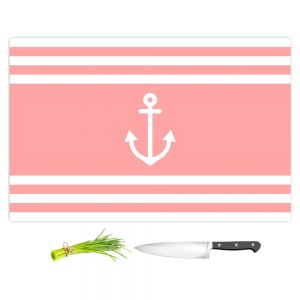 Artistic Kitchen Bar Cutting Boards | Organic Saturation - Anchor Stripes Coral | Simple pattern nautical