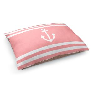 Decorative Dog Pet Beds | Organic Saturation - Anchor Stripes Coral | Simple pattern nautical