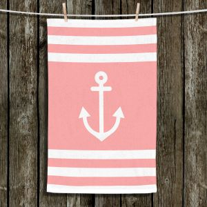 Unique Bathroom Towels | Organic Saturation - Anchor Stripes Coral | Simple pattern nautical