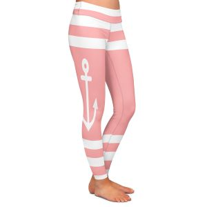 Casual Comfortable Leggings | Organic Saturation - Anchor Stripes Coral | Simple pattern nautical