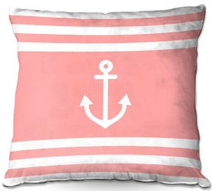 Decorative Outdoor Patio Pillow Cushion | Organic Saturation - Anchor Stripes Coral | Simple pattern nautical
