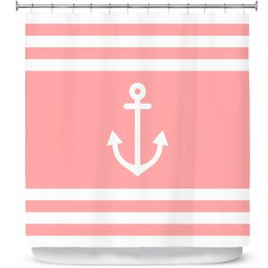 Premium Shower Curtains | Organic Saturation - Anchor Stripes Coral | Simple pattern nautical