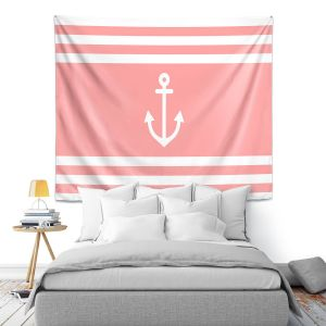 Artistic Wall Tapestry | Organic Saturation - Anchor Stripes Coral | Simple pattern nautical