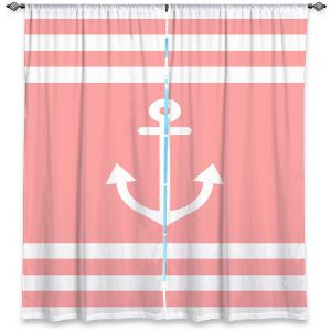 Decorative Window Treatments | Organic Saturation - Anchor Stripes Coral | Simple pattern nautical