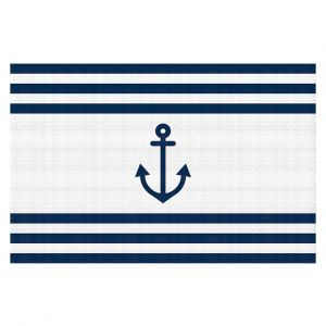 Decorative Floor Covering Mats | Organic Saturation - Anchor Stripes White | Simple pattern nautical