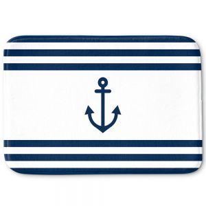 Decorative Bathroom Mats | Organic Saturation - Anchor Stripes White | Simple pattern nautical