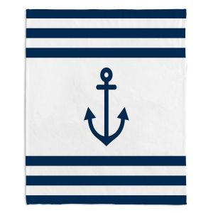 Decorative Fleece Throw Blankets | Organic Saturation - Anchor Stripes White | Simple pattern nautical