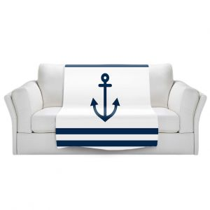 Artistic Sherpa Pile Blankets | Organic Saturation - Anchor Stripes White | Simple pattern nautical