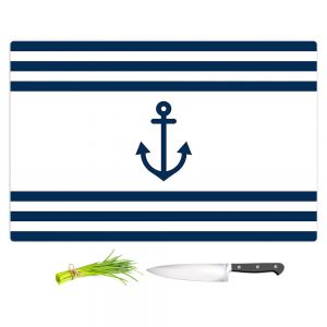 Artistic Kitchen Bar Cutting Boards | Organic Saturation - Anchor Stripes White | Simple pattern nautical