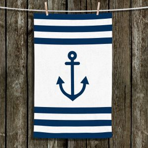 Unique Hanging Tea Towels | Organic Saturation - Anchor Stripes White | Simple pattern nautical