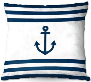 Decorative Outdoor Patio Pillow Cushion | Organic Saturation - Anchor Stripes White | Simple pattern nautical