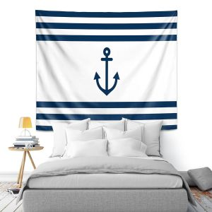 Artistic Wall Tapestry | Organic Saturation - Anchor Stripes White | Simple pattern nautical