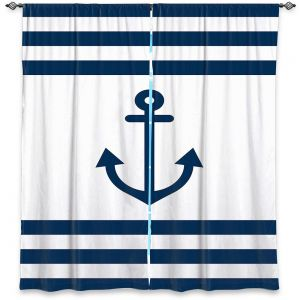 Decorative Window Treatments | Organic Saturation - Anchor Stripes White | Simple pattern nautical