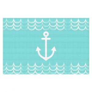 Decorative Floor Covering Mats | Organic Saturation - Anchor Waves Aqua | Simple pattern nautical