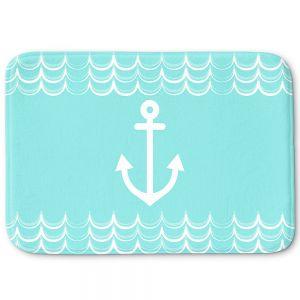Decorative Bathroom Mats | Organic Saturation - Anchor Waves Aqua | Simple pattern nautical