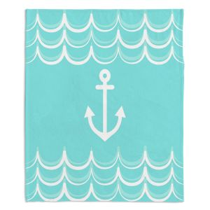 Decorative Fleece Throw Blankets | Organic Saturation - Anchor Waves Aqua | Simple pattern nautical