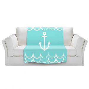 Artistic Sherpa Pile Blankets | Organic Saturation - Anchor Waves Aqua | Simple pattern nautical
