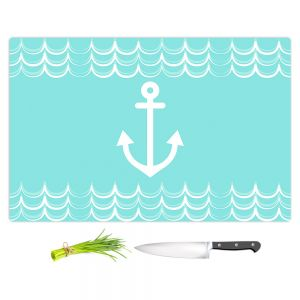 Artistic Kitchen Bar Cutting Boards | Organic Saturation - Anchor Waves Aqua | Simple pattern nautical