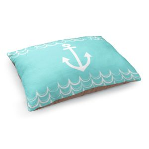Decorative Dog Pet Beds | Organic Saturation - Anchor Waves Aqua | Simple pattern nautical