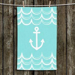 Unique Bathroom Towels | Organic Saturation - Anchor Waves Aqua | Simple pattern nautical