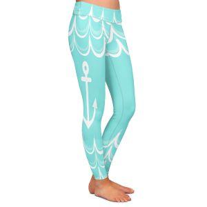 Casual Comfortable Leggings | Organic Saturation - Anchor Waves Aqua | Simple pattern nautical
