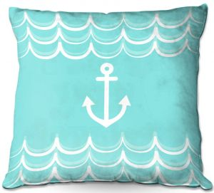 Decorative Outdoor Patio Pillow Cushion | Organic Saturation - Anchor Waves Aqua | Simple pattern nautical
