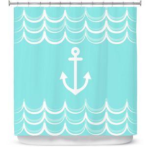 Premium Shower Curtains | Organic Saturation - Anchor Waves Aqua | Simple pattern nautical