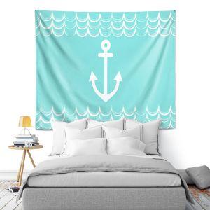 Artistic Wall Tapestry   Organic Saturation - Anchor Waves Aqua   Simple pattern nautical