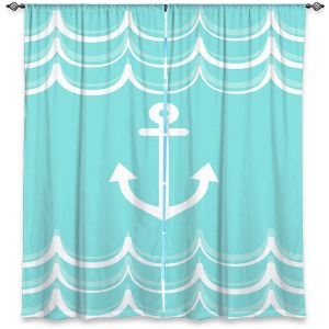 Decorative Window Treatments | Organic Saturation - Anchor Waves Aqua | Simple pattern nautical