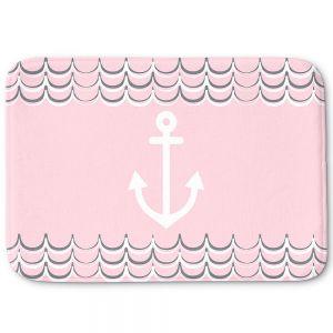 Decorative Bathroom Mats | Organic Saturation - Anchor Waves Blush Pink | Simple pattern nautical