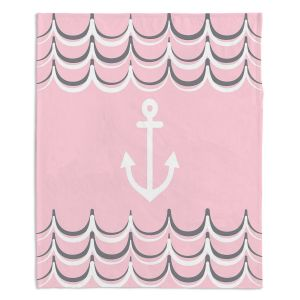 Decorative Fleece Throw Blankets | Organic Saturation - Anchor Waves Blush Pink | Simple pattern nautical