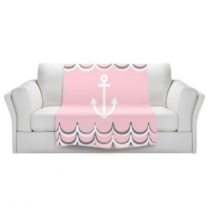Artistic Sherpa Pile Blankets | Organic Saturation - Anchor Waves Blush Pink | Simple pattern nautical